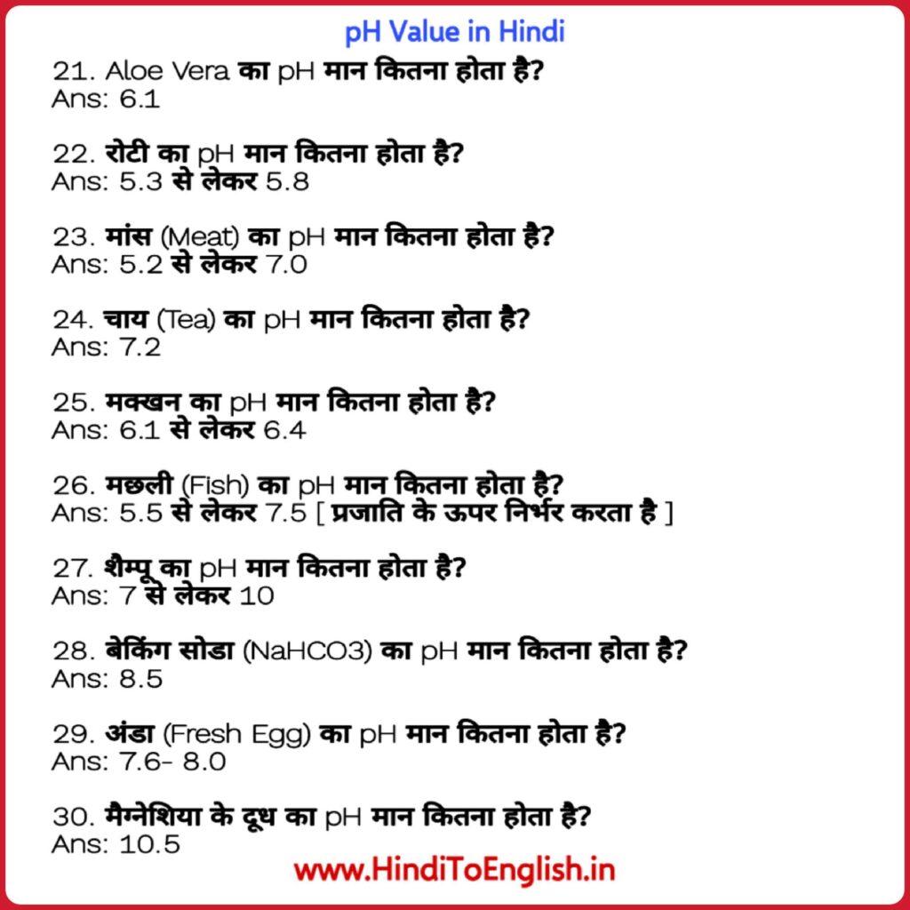 pH Value in Hindi